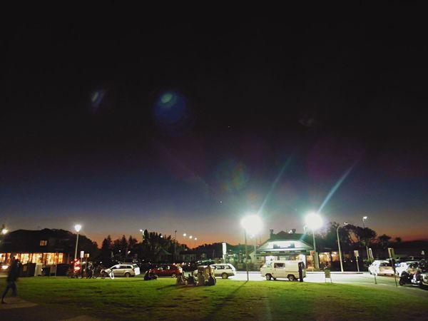 Night falling on Byron Bay Town Night Stars Sky Beach Dark Orange Australia Byron Darkness City People, Lights
