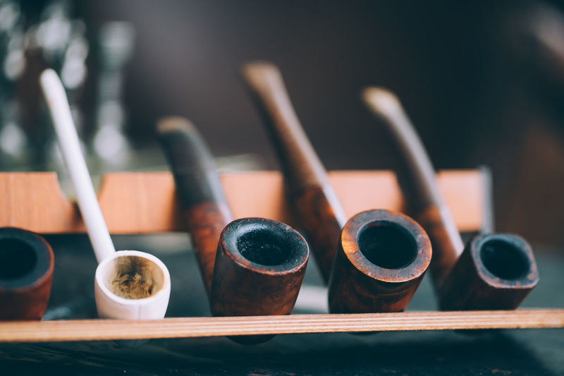 Close-up of smoking pipe