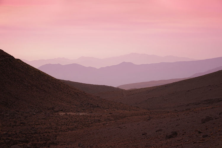 View from mountain camp near El Tatio geyser field, Chile Landscape Mountain Beauty In Nature Remote No People Sky Pink Color Tranquility Tranquil Scene Idyllic Nature Chile Sunset Backgrounds Background HERO Outdoors Travel
