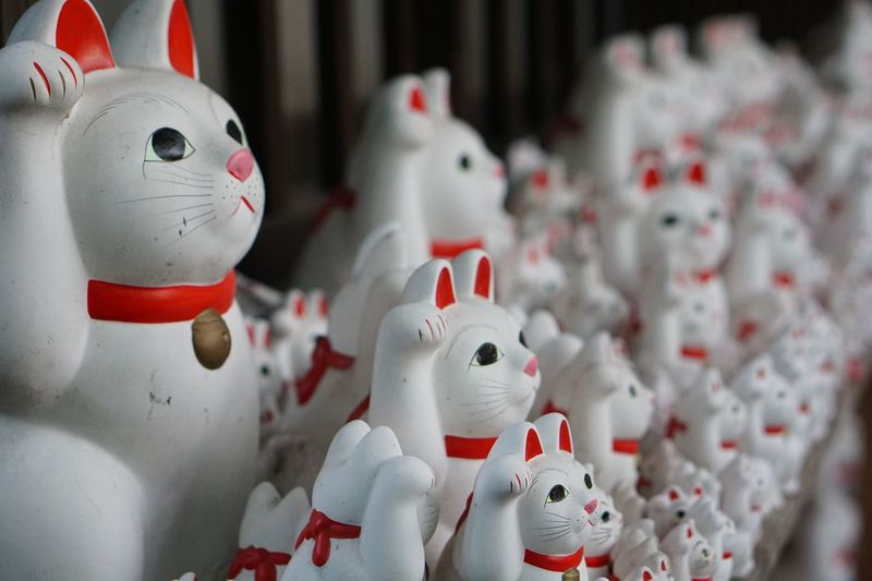 Beckoning Cat Lucky Cat Lucky Getting Inspired Manekineko Fortune Cat Representation Holiday Human Representation Art And Craft Creativity No People Craft Focus On Foreground