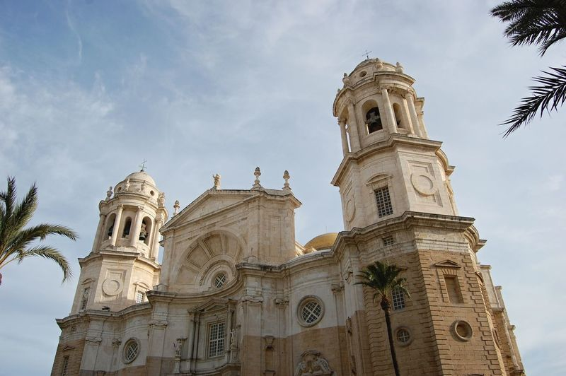 Low angle view of jerez de la frontera cathedral against sky during sunny day