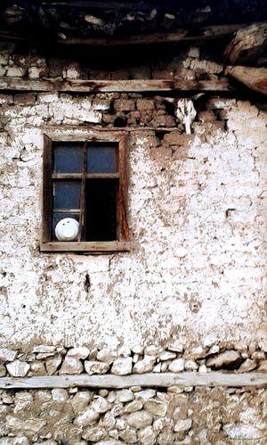 Old house with intergrated bull skull instaed of bricks in Kurtlar mahallesi, Acipayam, Turkey Old House Bull Skull Intergrated Brick