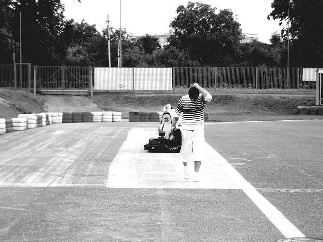 Gocart Motorsport Black And White Day Men Summer Outdoors Poland Szczecin