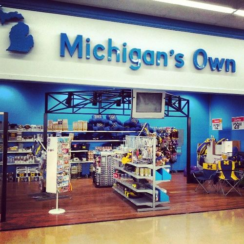 """Stopped by the Ludington Walmart today. Was very interested in the """"Michigan's Own"""" section of the store. I looked for something, ANYTHING, green and white and of course came away disappointed... WalmartWolverines"""