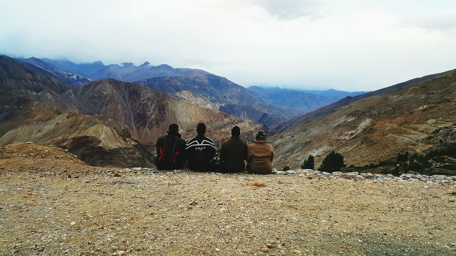 Togetherness Beauty In Nature Mountain Bonding Nature Sky Nako Spiti Valley India Hills, Mountains, Sky, Clouds, Sun, River, Limpid, Blue, Earth Rocks And Sky Cloud - Sky Beauty In Nature Tranquility Sky And Clouds