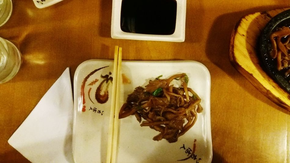 Let's eat Japanese Food Shoyo Hashi Japanesefood At The Table Shimeji Shimeji Mushrooms Eating Out Enjoying A Meal