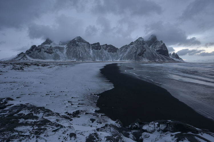Vestrahorn and its black sand beach in iceland.sand dunes on the stokksnes on southeastern icelandic