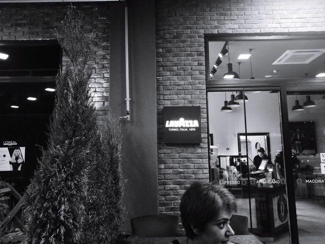 Blackandwhite Photography The Week On EyeEm Black&white Coffee Coffee Shop Thirdwavecoffee One Person Outdoors Lavazza