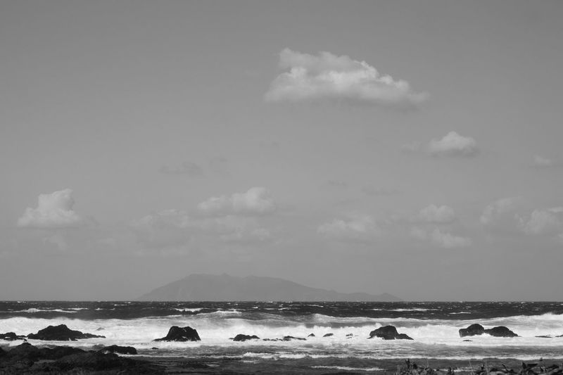 wave Nature Monochrome Clouds And Sky Sea Scenics Wave Horizon Over Water Sky Beauty In Nature Water Blackandwhite Travel Island Day Japan