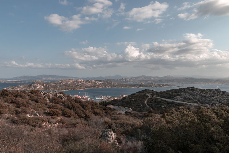 Scenic view of la maddalena to palau on the italian island of sardinia against sky