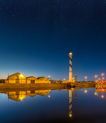Old lighthouse of ostend against night sky