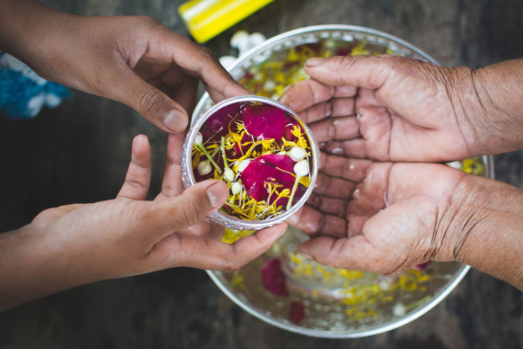 Cropped image of person pouring flower water on hands