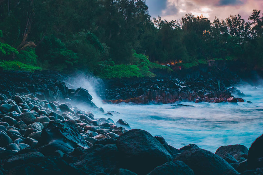 Hawaiian Dreams 💭 Hawaii Hawaii Life Beach Beauty In Nature Cloud - Sky Clouds Clouds And Sky Land Nature No People Outdoors Pastel Plant Rock Scenics - Nature Tones Tree Water Waves
