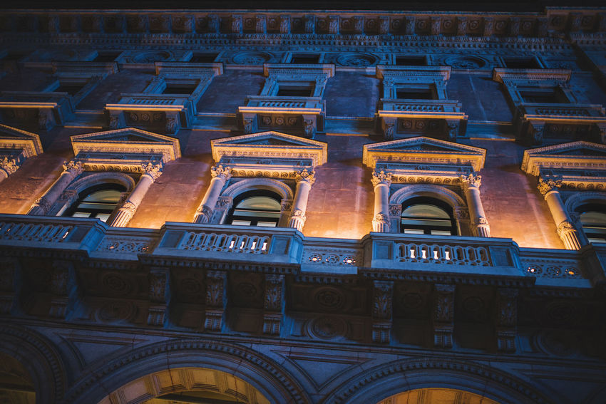 Backlight Milan,Italy Milano Architecture Building Exterior Building Lights Built Structure Colour Duomo Di Milano Low Angle View No People Old Architecture Outdoors Perspective Photography Travel Destinations
