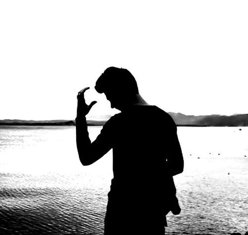 Water Silhouette Beach Standing One Person Adult People Adults Only One Man Only Young Adult Only Men Outdoors Sky One Young Man Only Nature Day Gardasee Garda Lake