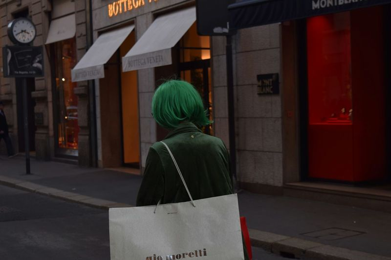 Green Wig Fashion Shopping Bag Shopping Time Red And Green Santo Spirito Montenapoleone City Women Back Rear View Store Human Back Retail  Architecture Built Structure Building Exterior International Women's Day 2019 Streetwise Photography