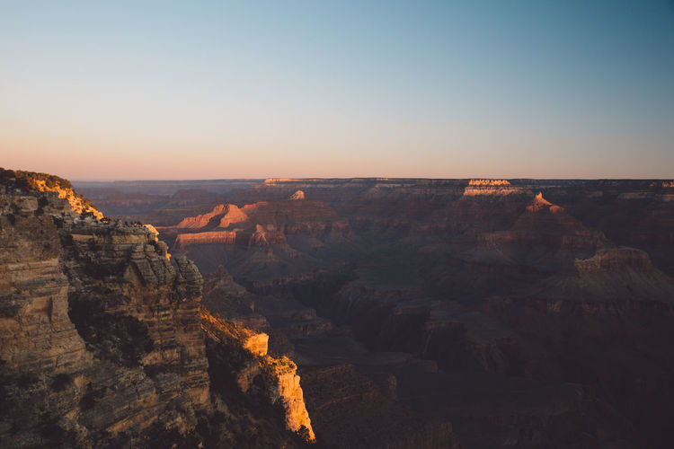 Grand Canyon National Park Against Clear Sky During Sunset
