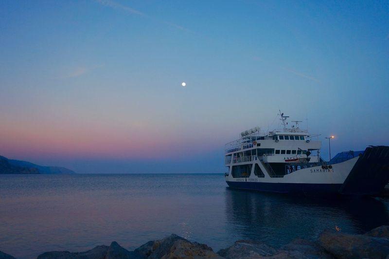 Night Ferry Sea Sunset Ferry Ferryboat Water Moon Nautical Vessel Sea Sky Transportation Mode Of Transportation