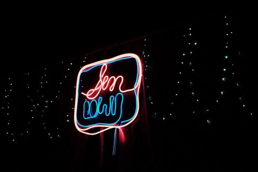 the sundown text by neon light Text Dark