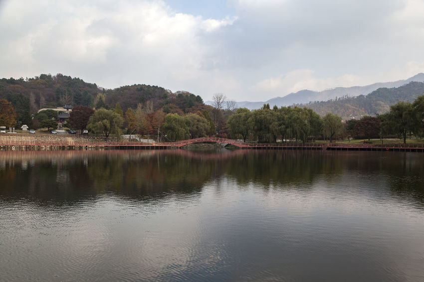 Euiamho, Jangsugun, Jeonlabukdo, South Korea Arrival Autumn Autumn Colors Bridge Cloud Day Fall Fall Beauty Lake Lake Side Landscape Mountain Nature No People Outdoors Reflection Reflection Reflection Lake Sky Tree Water