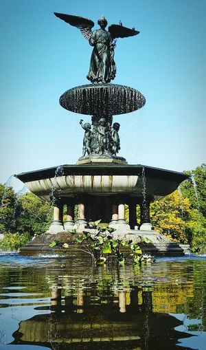 Central Park Central Park Views Sky Water Reflection Fountain Don't Blink Doctor Who