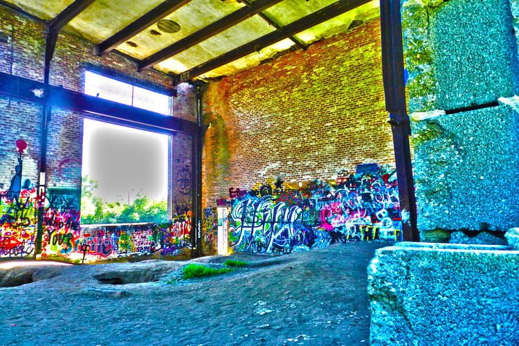 Old Made Beautiful Abandoned Art Brick Building Bright Built Structure Cement City City Life Colorfull Colors The Street Photographer - 2016 EyeEm Awards Graffiti Graffiti Art Inside Inside Of Building Light Leak Multi Colored No Longer In Use No People No Window Old Papermill Run Down Street Photography The Photojournalist - 2016 EyeEm Awards