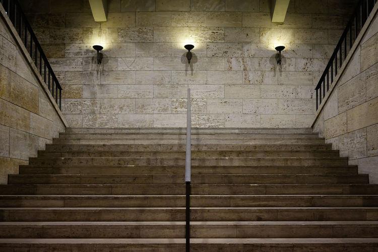 Illuminated Lights Over Stairway