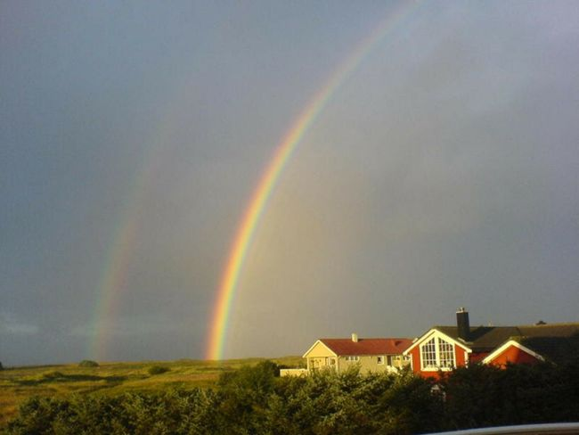 Rainbow Beauty In Nature Double Rainbow Thunderstorm Grass Sky Refraction Building Exterior Storm Cloud Natural Phenomenon Farsund, Norway Scenics Nature Rain No People Storm Outdoors Idyllic Spectrum Cityscape Day Finding New Frontiers