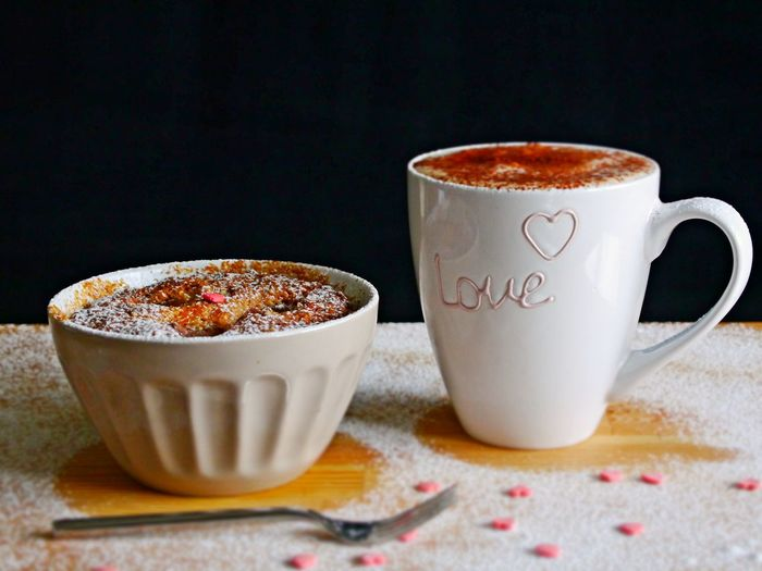 Be My Valentine Emotions Fork Love Valentine's Day  Black Background Close-up Coffee - Drink Coffee Cup Day Drink Food Food And Drink Freshness Frothy Drink Indoors  Indulgence No People Nutpie Powdered Sugar Ready-to-eat Refreshment Still Life Sweet Food Table