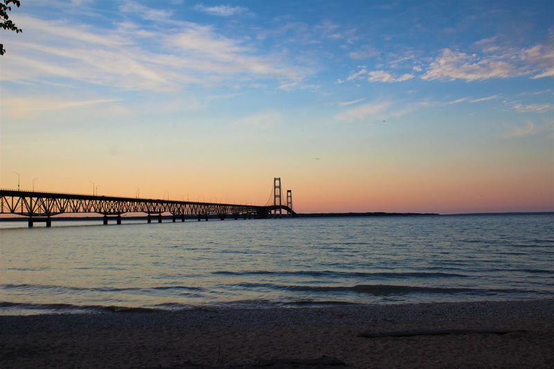 Mackinac Bridge Pure Michigan Beauty In Nature Scenics - Nature Sky Sunset Tranquil Scene Water Waterfront