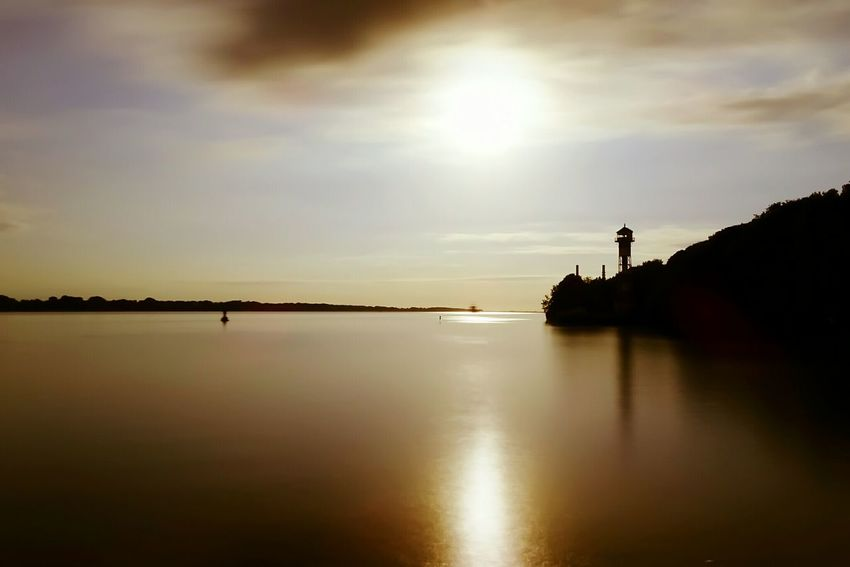 Sunset Reflection Water Silhouette Beauty In Nature Nature Scenics Cloud - Sky Tranquility Landscape Sky No People Outdoors Lake Horizon Over Water Day Lighthouse Elbe River Elbe River City Dramatic Sky Tree