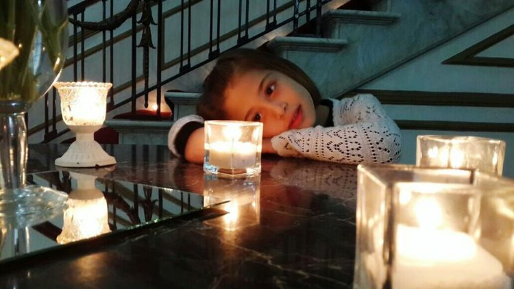 Kido Kid Little Girl Elementary Age Candle Light Candle Candles Candlelight Candle Flame My Daughter Rest Inocence  Soft Light Up Close Street Photography