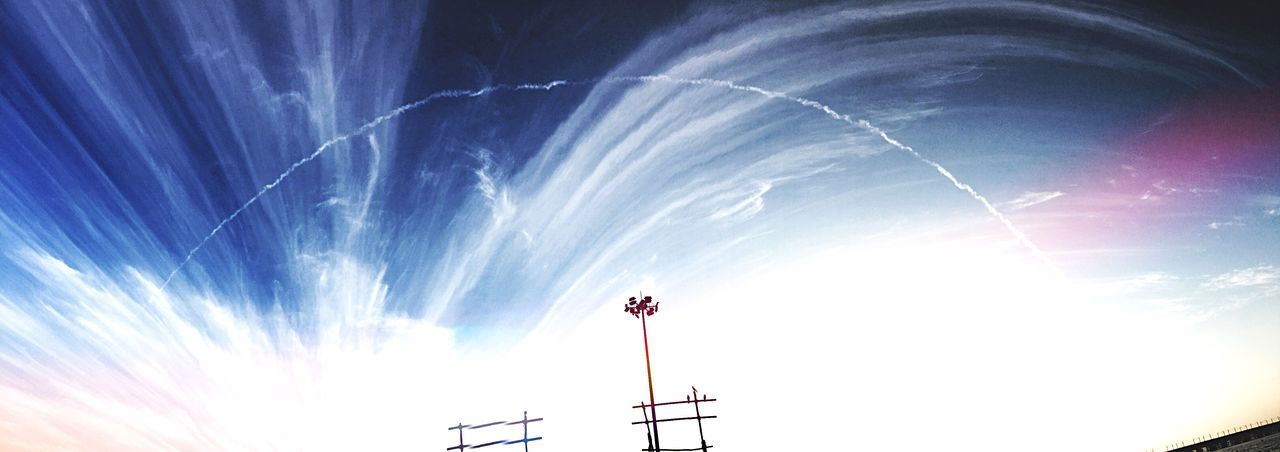 Beauty it is 😍 Low Angle View Sky Scenics Blue Tranquility Vapor Trail Cloud Outdoors Sunbeam Tranquil Scene Cloud - Sky Beauty In Nature Nature Day High Section Multi Colored IPhoneography Iphonephotography Nature Panoramic Views Panorama Wide Shot