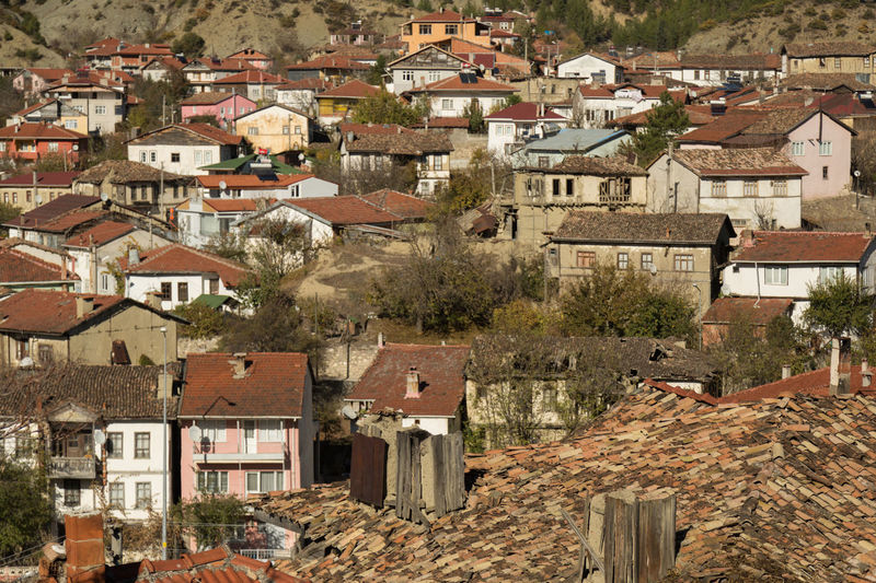 view of the roofs in the village of Taraklı, Turkey Architecture Building Exterior Buildings Built Structure Crowded Day From Above  House No People Outdoor Outdoors Roof Roofs Taraklı Tiled Roof  Town Turkey View