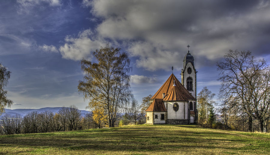 """""""The Old Chapel""""; Liberec, CZ Chapel Czech Republic HDR Hdr_Collection Architecture Beauty In Nature Building Exterior Built Structure Cloud - Sky Day Liberec Nature No People Outdoors Place Of Worship Religion Scenics Sky Spirituality Tranquility"""