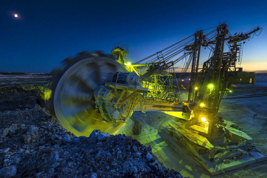 Russia, Stary Oskol, Stoilensky GOK, bucket wheel excavator, Stripping Blue Bucket Wheel Excavator Glowing Illuminated Light Trail Nature Night No People Outdoors Russia россия Sky Sphere Stripping The Land