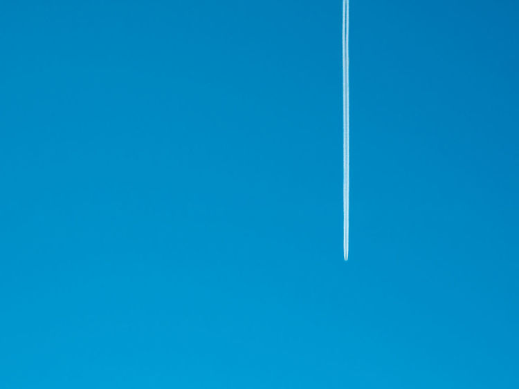 Air Vehicle Airplane Blue Chemtrail Clear Sky Day Flying Golden Ratio Jet Minimal Minimalism Minimalistic Motion Nature No People Outdoors Plane Sky Vapor Trail