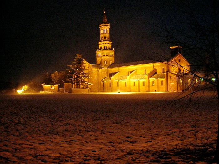 Chiaravalle, Milano Architecture Building Exterior The Past Ancient History No People Moon Night Snow Covered Light Effect Light And Dark Light And Snow