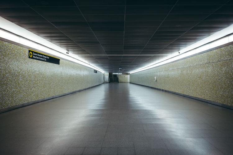Empty subway along the walls