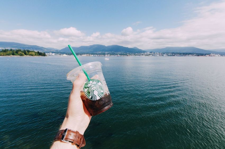 I think I'm gonna like this place. Vancouver Starbucks Waterfront Enjoying The View Harbour