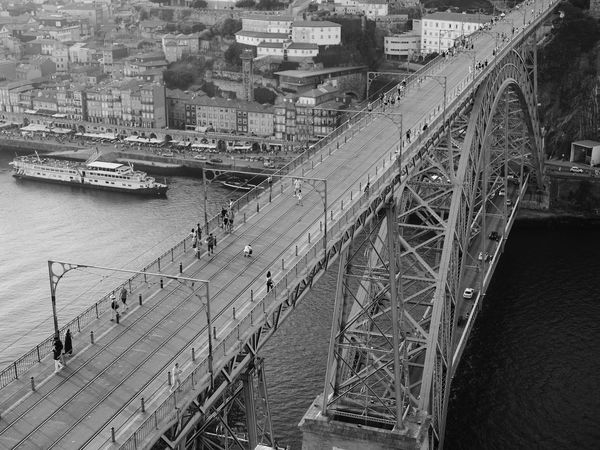 Douro  Ponte Luis I Porto Blackandwhite Boat Bridge - Man Made Structure City Connection High Angle View River Streetphotography Transportation Water