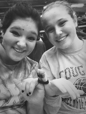 Taped our pinkies together. Yeahhhh were dorks.