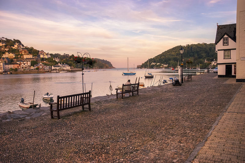 Looking across The River Dart from Bayard's Cover towards Kingswear Bayard's Cove Benches Boat Boats Cobblestones Dartmouth Devon Estuary Holiday Holidays Moorings  Picturesque Relaxing River Riverscape Sky South Devon Tranquil Tranquility Tranquility Vacation Vacations Water