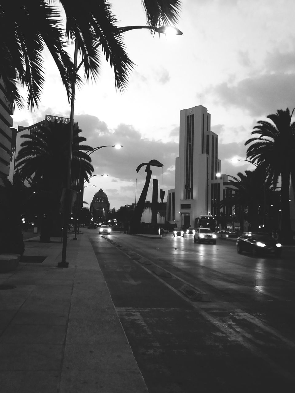 palm tree, tree, built structure, sky, architecture, building exterior, city, outdoors, cloud - sky, travel destinations, road, growth, no people, illuminated, modern, day