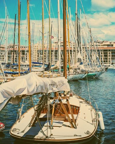 The visual spectacle of so many awesome classic yachts docked at the Vieux-port de Marseille. It takes you back in time. Boats Boating Yatch Yatch Life Sunny Day Marseille France Goodlife Travel Photography Sea Sea And Sky Beautiful View Port