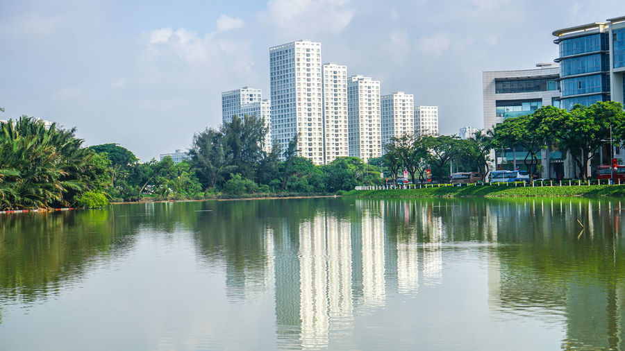 Reflection of trees and buildings in lake
