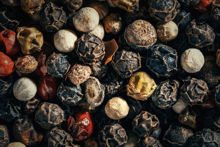 Full frame shot of peppercorns