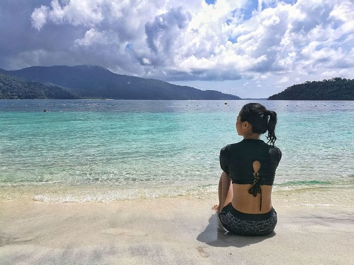 Lombok INDONESIA Beach Cloud - Sky Sand Sea Outdoors Lifestyles Vacations One Person Sky Beauty In Nature Naturelover Swim Suit