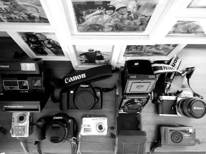 My F2D Collection (film to digital cameras over the years) Indoors  Day No People Technology Camera - Photographic Equipment Photos Collection Hobbies Photography EyeEmNewHere The Week On EyeEm Canon Nikon Rolleiflex Samsung Black & White Polaroid Sony