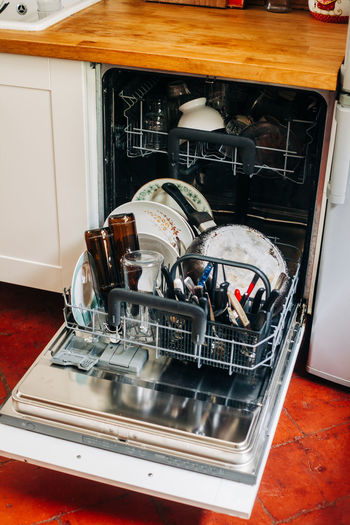 High angle view of machine in kitchen at home